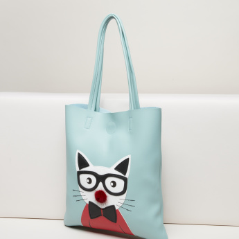 Missy Printed Tote Bag with Magnetic Snap Closure
