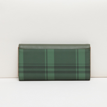 Paprika Chequered Tri-Fold Wallet with Press Button Closure