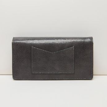 Paprika Textured Wallet with Flap and Press Button Closure