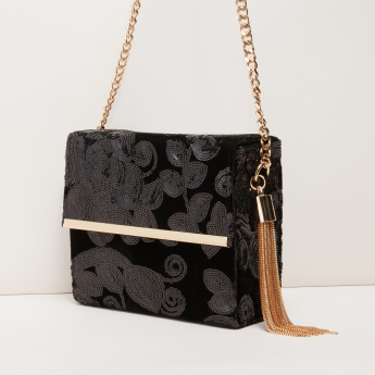 Celeste Sequin Detail Sling Bag with Magnetic Snap Closure
