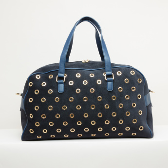 Paprika Eyelet Detail Duffel Bag with Zip Closure and Detachable Strap