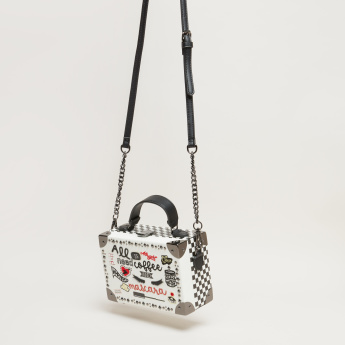 Missy Applique Detail Hard Case Crossbody Bag with Metallic Closure