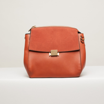 Paprika Textured Crossbody Bag with Zip Closure and Adjustable Strap