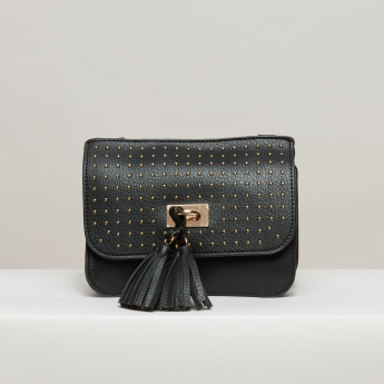 Elle Studded Satchel Bag with Magnetic Snap Closure and Waist Band
