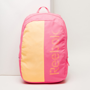 Reebok Printed Backpack with Zip Closure and Adjustable Straps