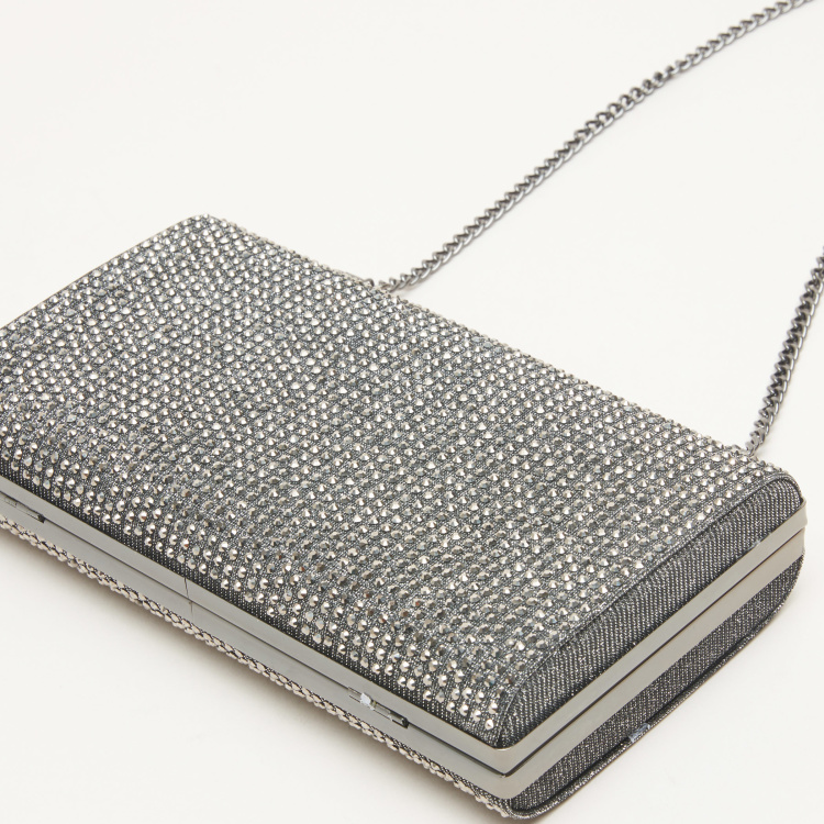 STEVE MADDEN Studded Clutch with Detachable Metallic Chain