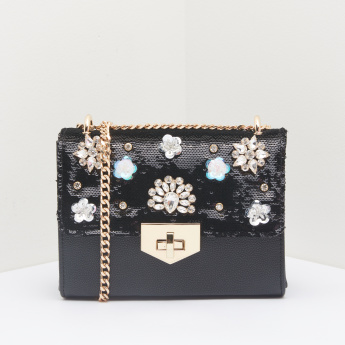 Celeste Studded Satchel Bag with Sequins
