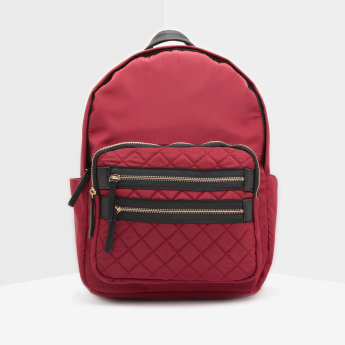 Paprika Quilt Detail Backpack with Organiser Pockets