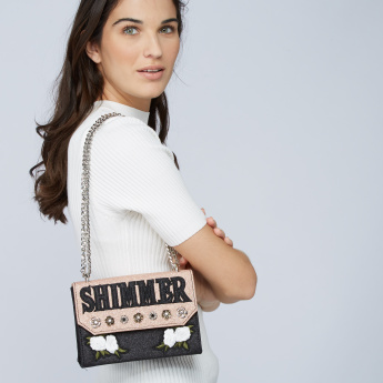 Missy Embroidered Satchel Bag with Embellishments