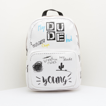 Text Printed Backpack with Zip Closure and Top Handle