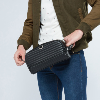 Lee Cooper Quilted Pouch with Studded Wristlet