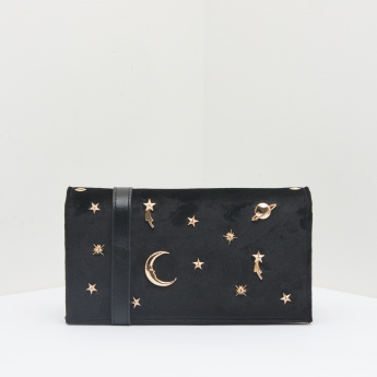 Celeste Textured Wallet with Metallic Applique Detail