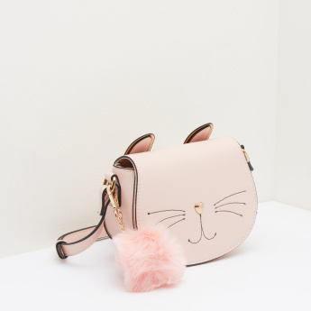 Cat Shaped Satchel Bag with Pom-Pom Detail and Adjustable Strap