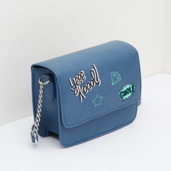 Embroidered and Printed Satchel Bag