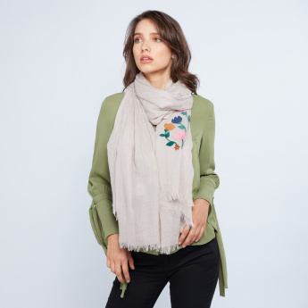 Celeste Floral Embroidered Scarf with Fringes