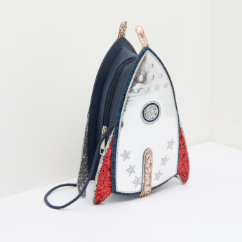 Rocket Shaped Handbag with Glitter Detail