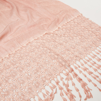 Celeste Embroidered Scarf with Tassels
