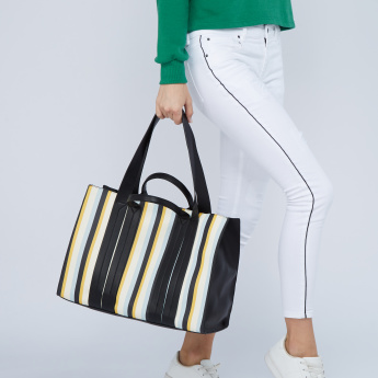 Celeste Striped Tote Bag with Dual Handles