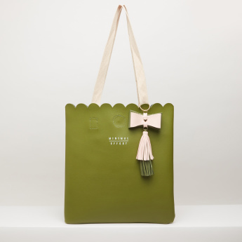 Missy Tote Bag with Tassel Detail and Slogan Print