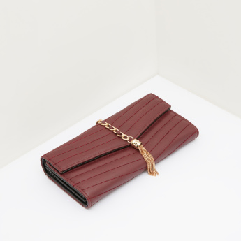 Celeste Quilted Tri-Fold Wallet with Hanging Tassel