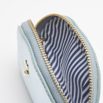 Missy Textured Coin Purse with Zip Closure and Pearl Detail