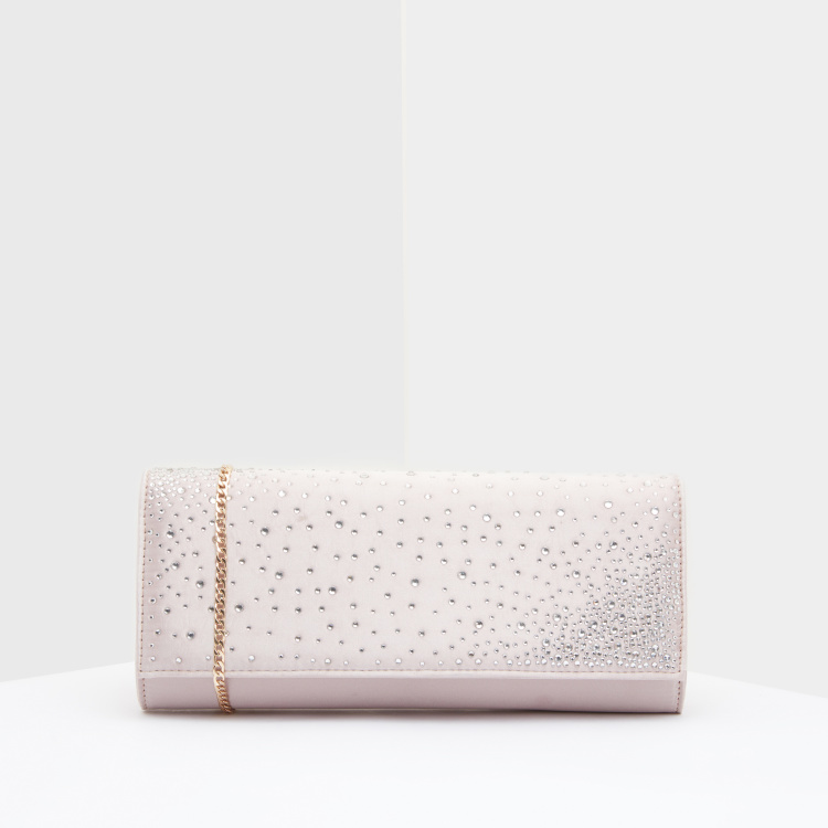Celeste Studded Clutch with Magnetic Snap Closure