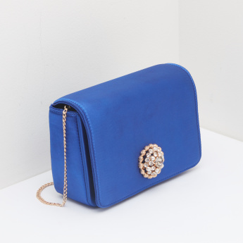 Celeste Embellished Satchel Bag with Magnetic Snap Closure