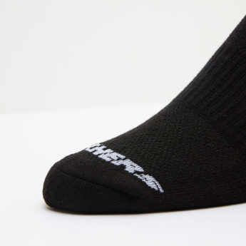 Skechers Textured Ankle Length Socks with Logo Print - Set of 3