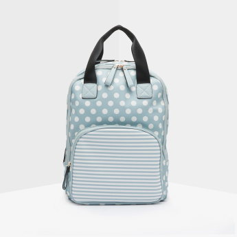 Missy Polka Dot Printed Backpack with Striped Front Pocket