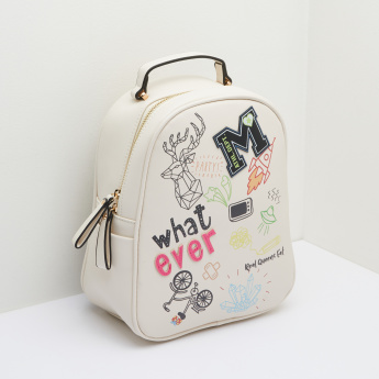 Missy Printed Backpack with Badge
