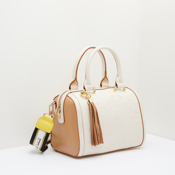 Celeste Textured Bowler Bag with Long Detachable Strap