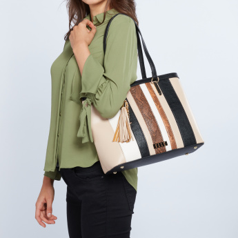 ELLE Striped Tote Bag with Tassel
