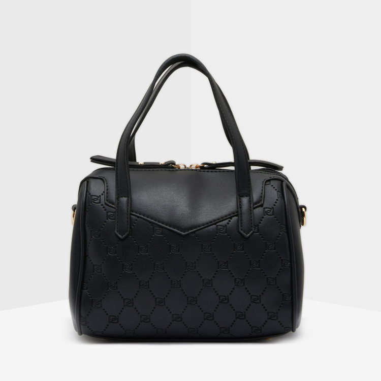 Celeste Textured Bowler Bag with Detachable Strap