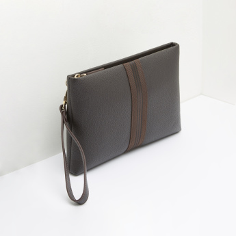 ELLE Textured Pouch with Zip Closure and Wristlet
