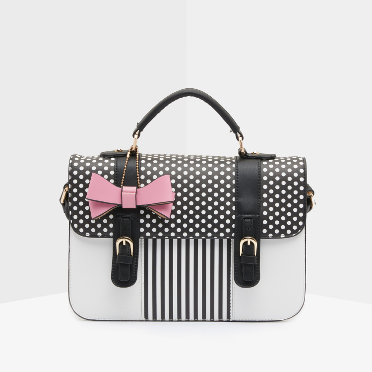 Missy Polka Dot Printed Satchel Bag with Bow Applique