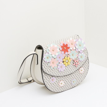 Missy Floral Applique Satchel Bag