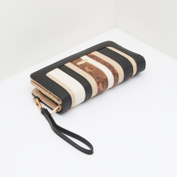 ELLE Striped Wallet with Zip Closure and Wristlet