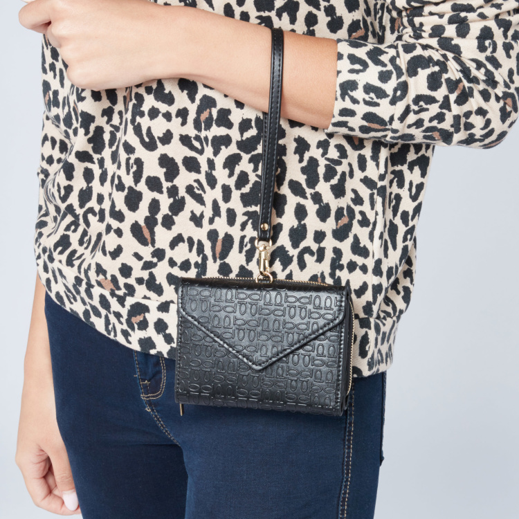 Celeste Textured Wallet with Wristlet and Zip Closure