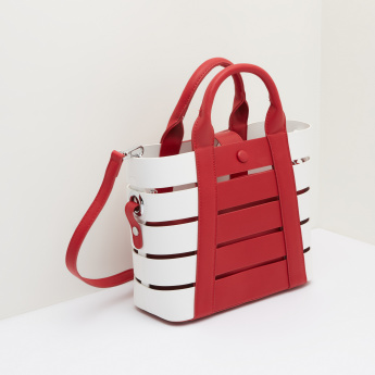 Missy Cutout Detail Tote Bag with Press Button Closure and Pouch
