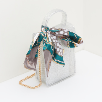 Missy Glitter Satchel Bag with Metallic Chain and Printed Scarf
