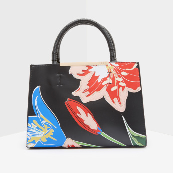ELLE Hand Bag with Floral Applique