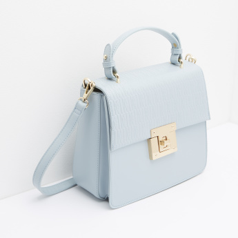 ELLE Embossed Satchel with Twist and Lock Closure