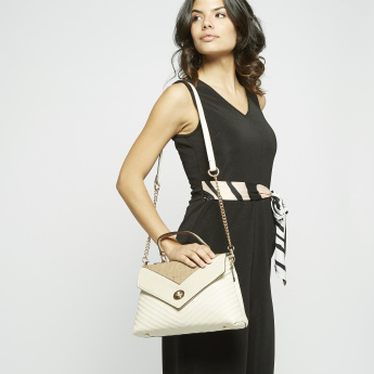 Celeste Quilted Panelled Satchel Bag with Metallic Chain