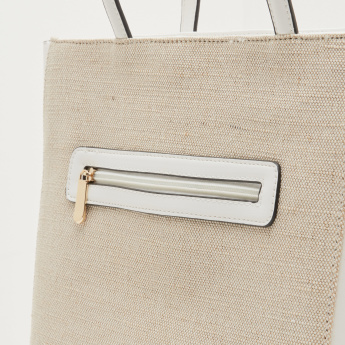 Missy Textured Tote Bag with Applique and Embellished Detail