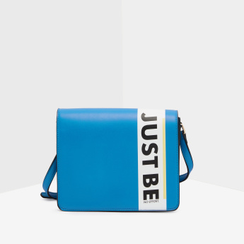 Missy Slogan Printed Crossbody Bag with Long Adjustable Strap
