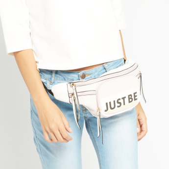 Missy Slogan Printed Fanny Pack with Buckle Closure