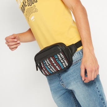 Lee Cooper Printed Fanny Bag with Adjustable Strap