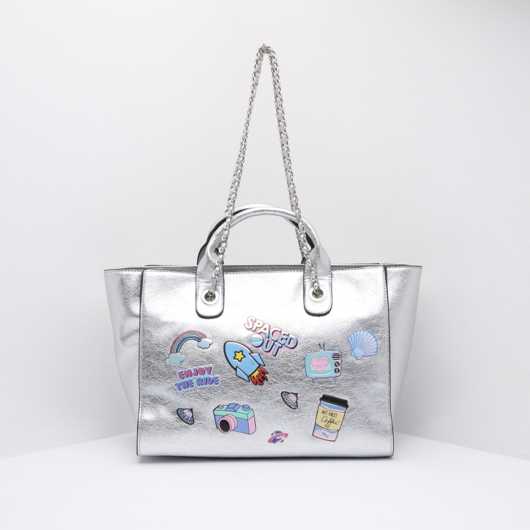 Missy Tote Bag with Applique Badges