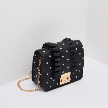 Missy Polka Dot Print Crossbody Bag with Ruffles
