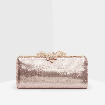 Celeste Embellished Clutch with Press and Lock Closure